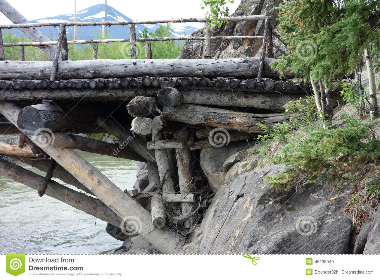 An Old, Preserved Wooden Bridge From Goldrush Days Stock