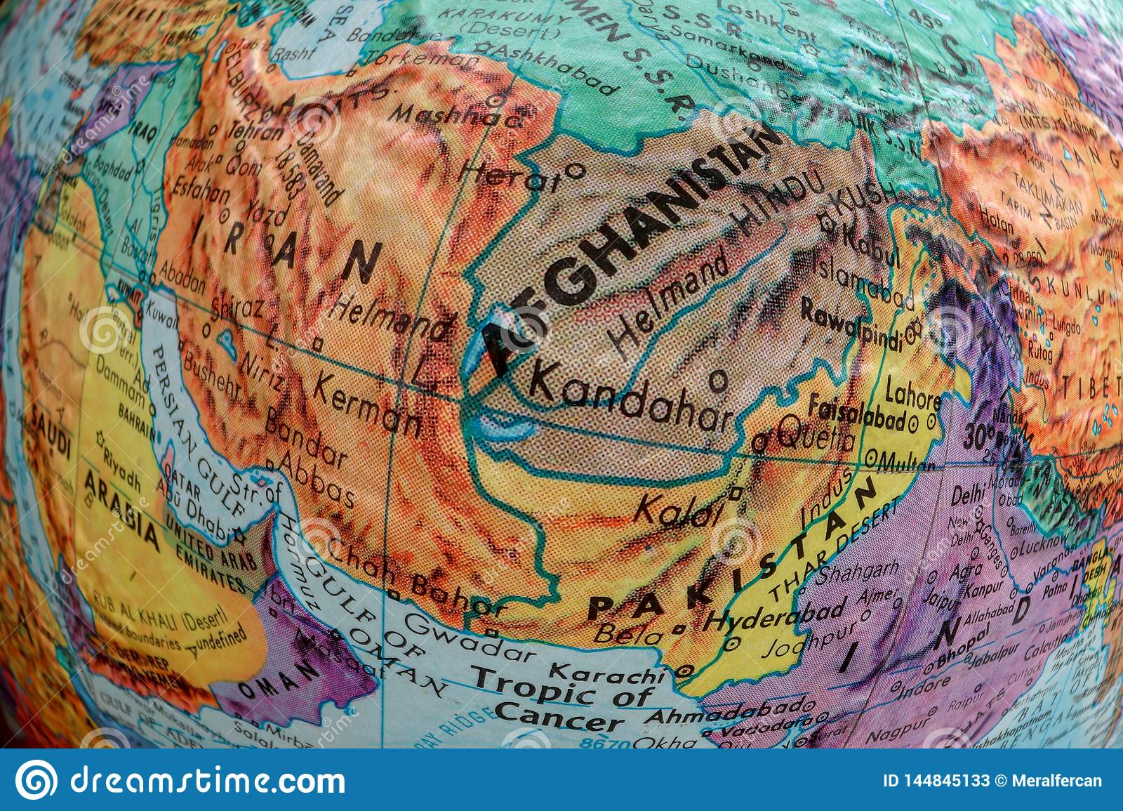 Old Print Map Iran Afghanistan Pakistan Fish Eye Stock Image Image Of European Continent 144845133