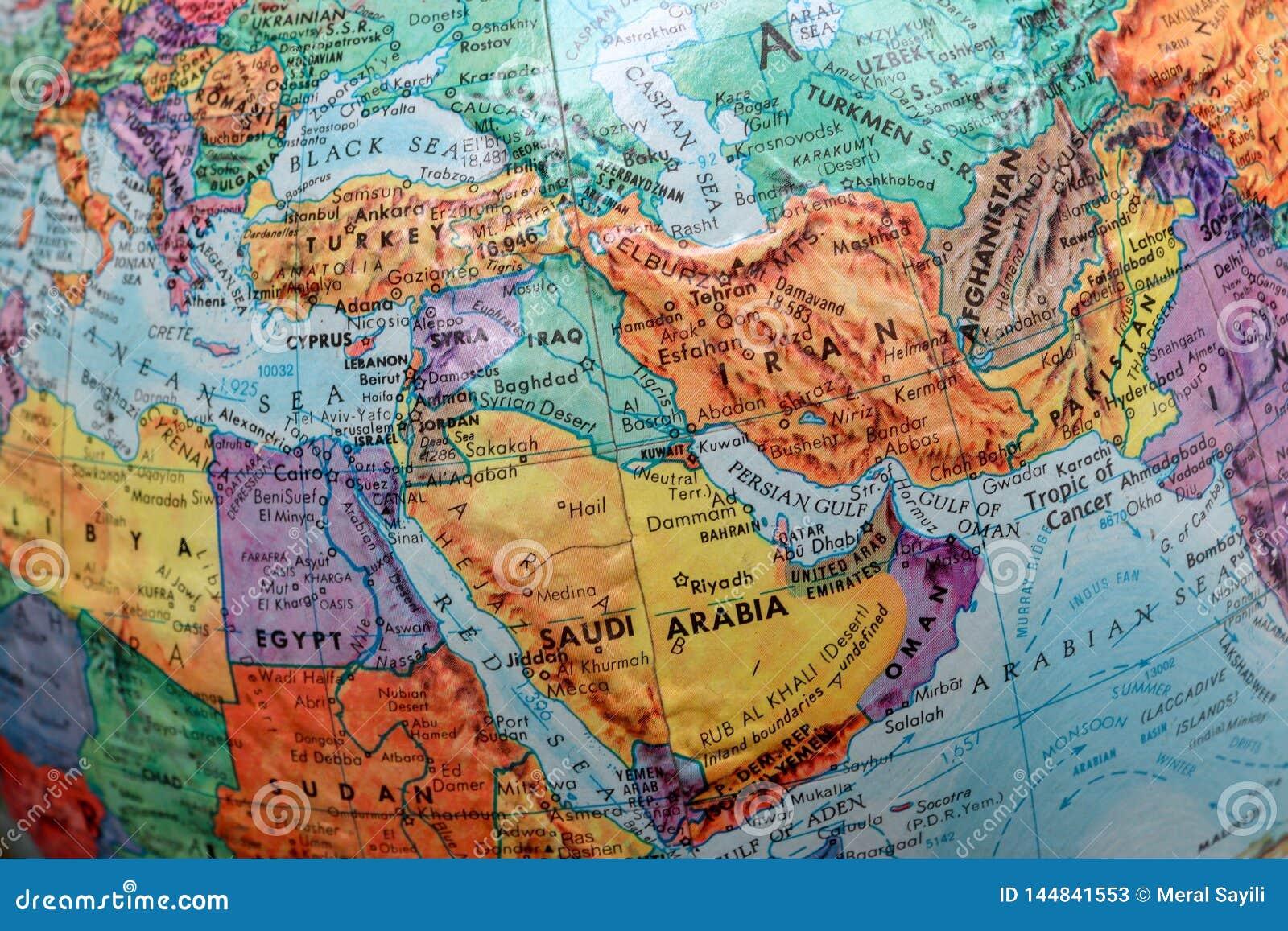 Old Print Map, terrestrial globe, Turkey, Iran, Iraq, Saudi Arabia