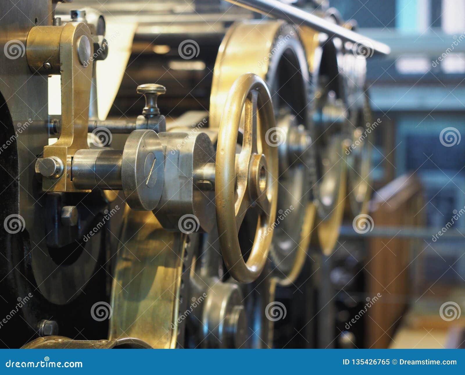 Old printing press. Сlose up view