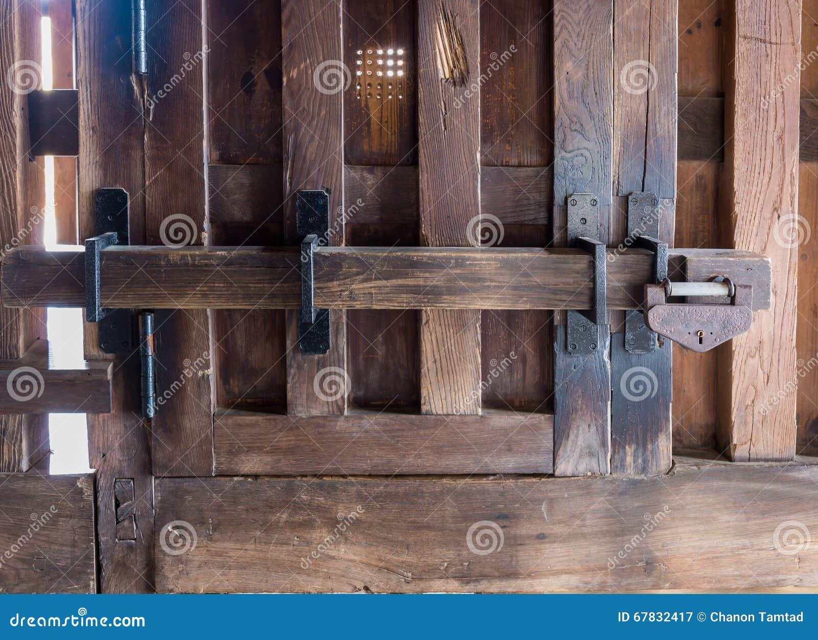 Old Prison Locked Wooden Key Gate Lock Stock Image