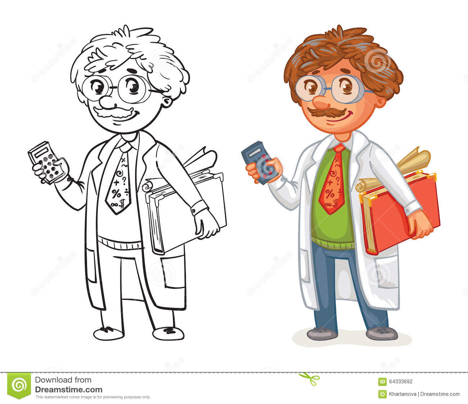 Old professor in lab coat stock vector. Illustration of color - 64333692