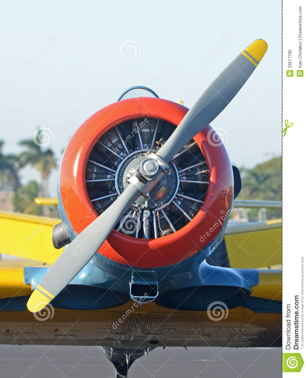 Old propeller airplane stock image. Image of front ...