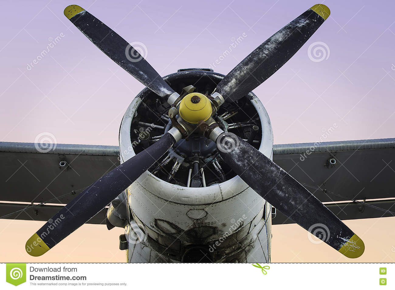 Download Old Propeller Airplane stock image. Image of airport - 74672543