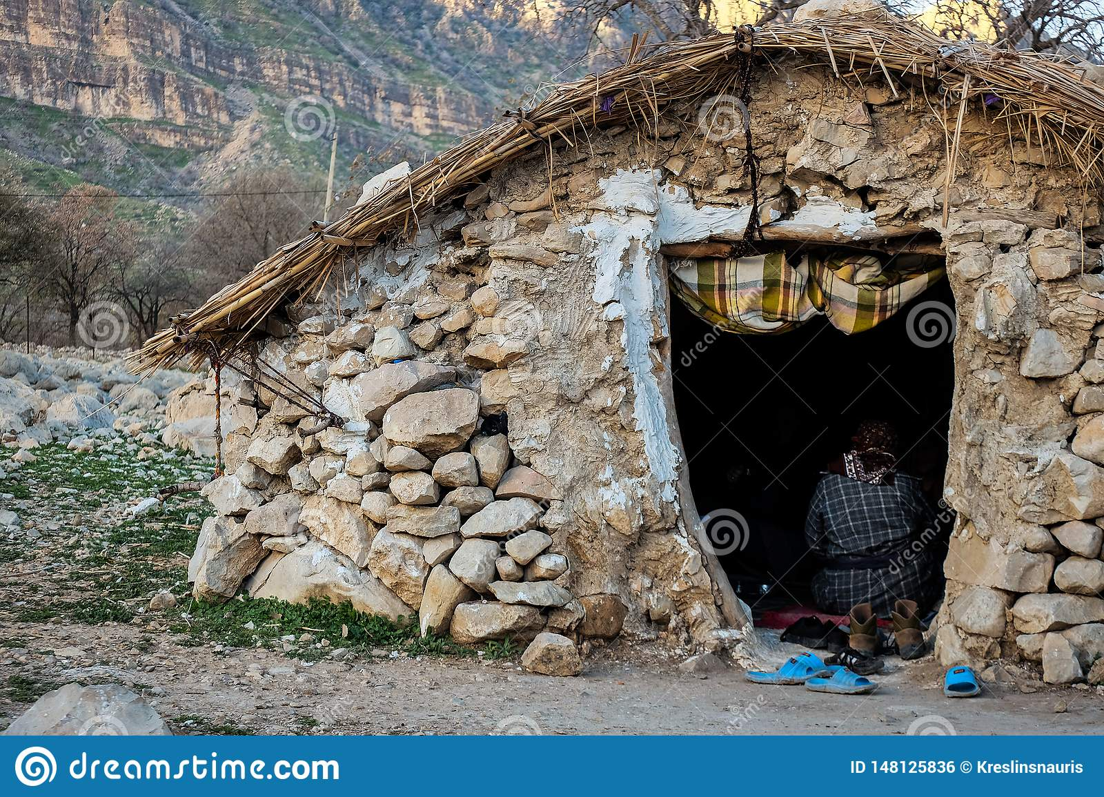Nomads rural rock house in Zagros mountains in Iran