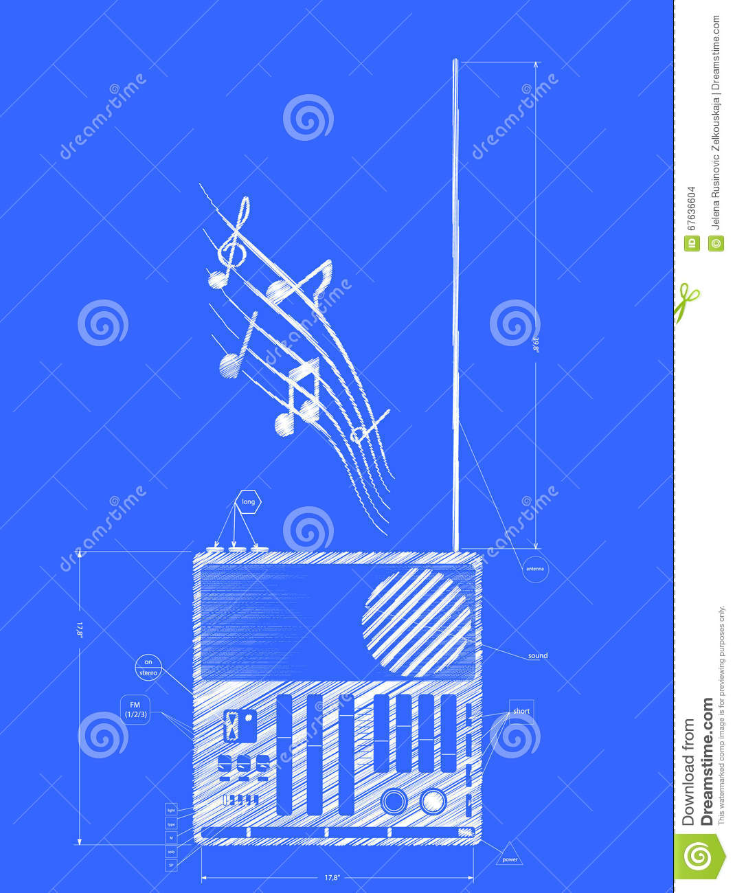Old radio blueprint drawing stock vector illustration of retro old radio blueprint drawing malvernweather Images