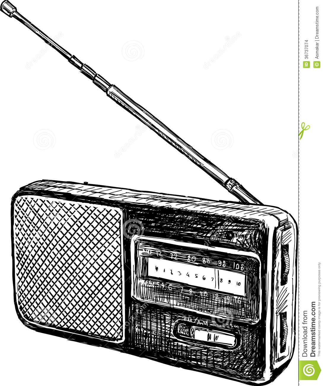 Clipart Vector of Old radio - Realistic retro radio, isolated on ...