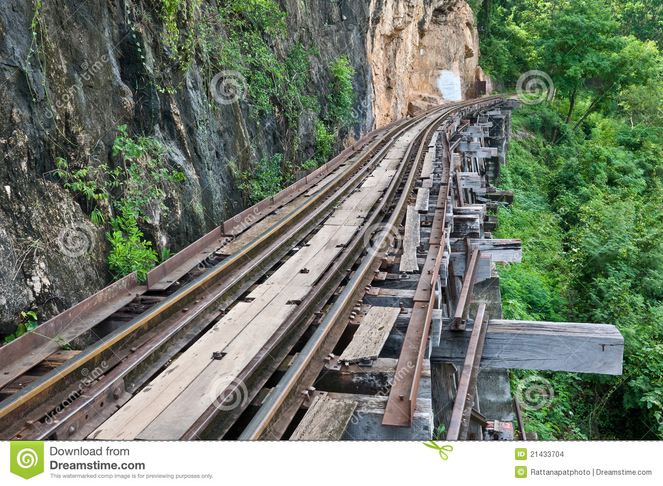 Old rail beside cliff and river stock images image
