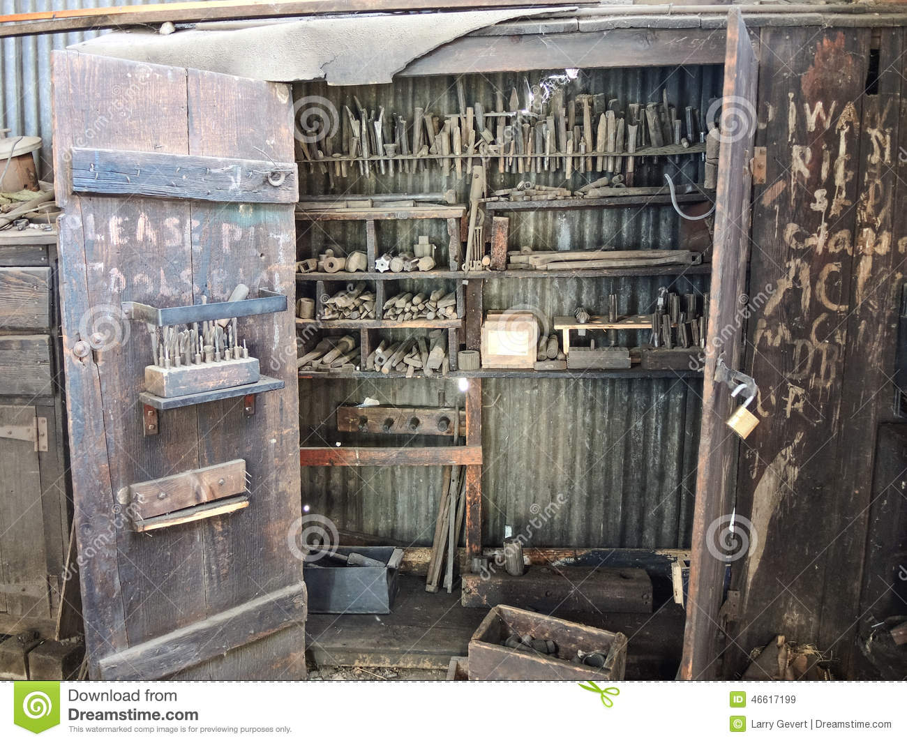 Old Railroad Machinist Tool Cabinet Stock Photo - Image: 46617199