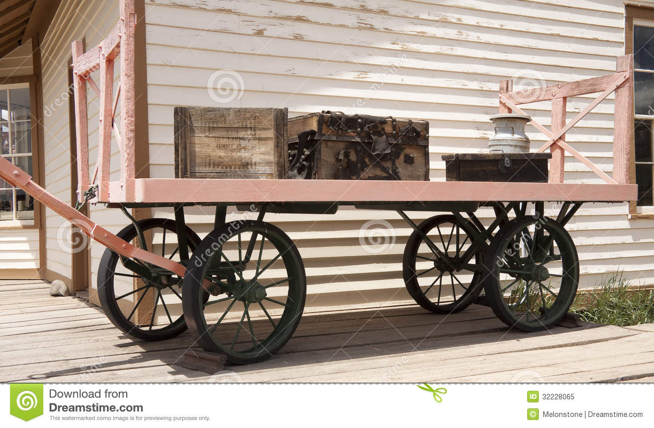 Old Railway Luggage Cart Stock Image. Image Of Building
