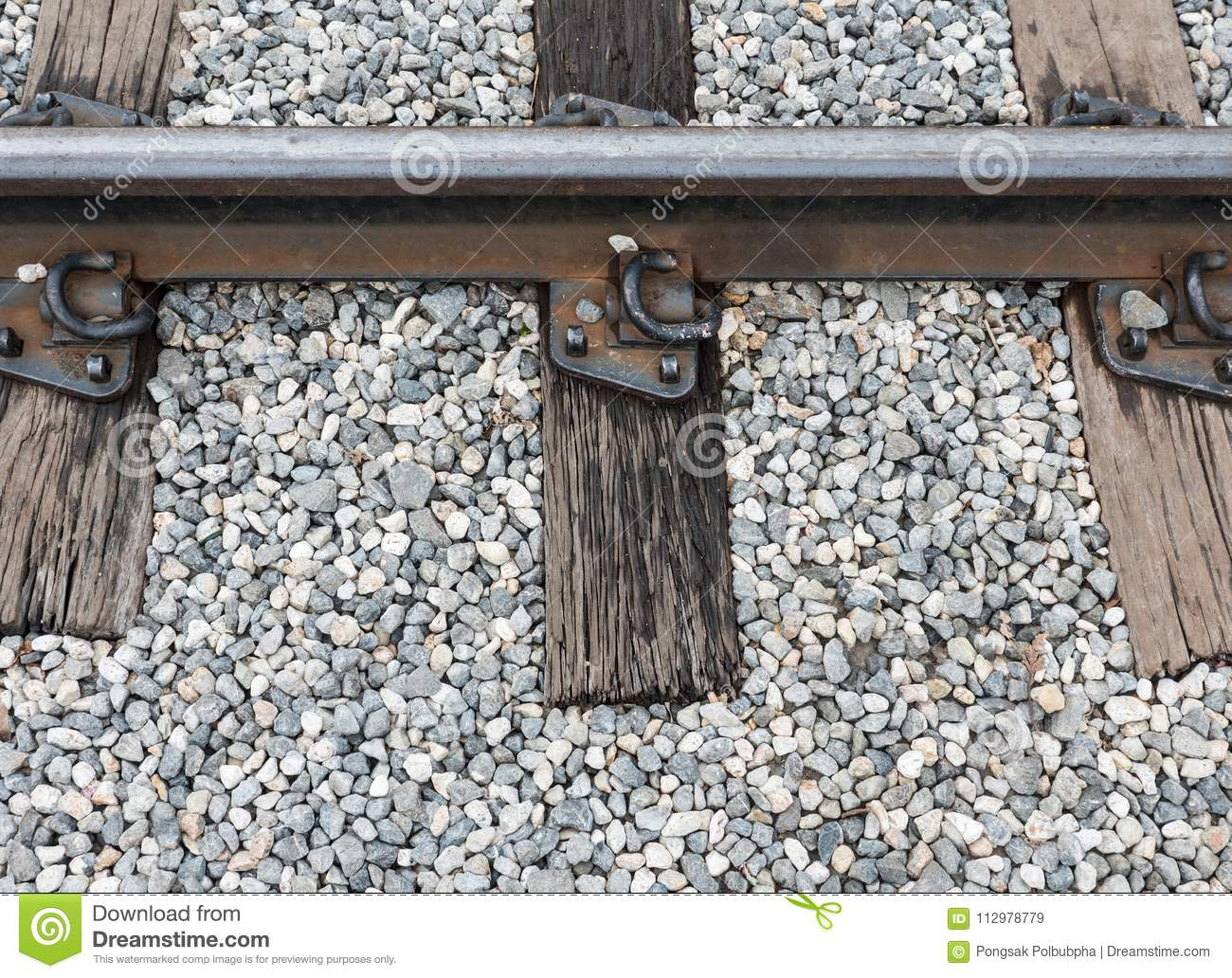 Old railway track with the wooden sleeper.