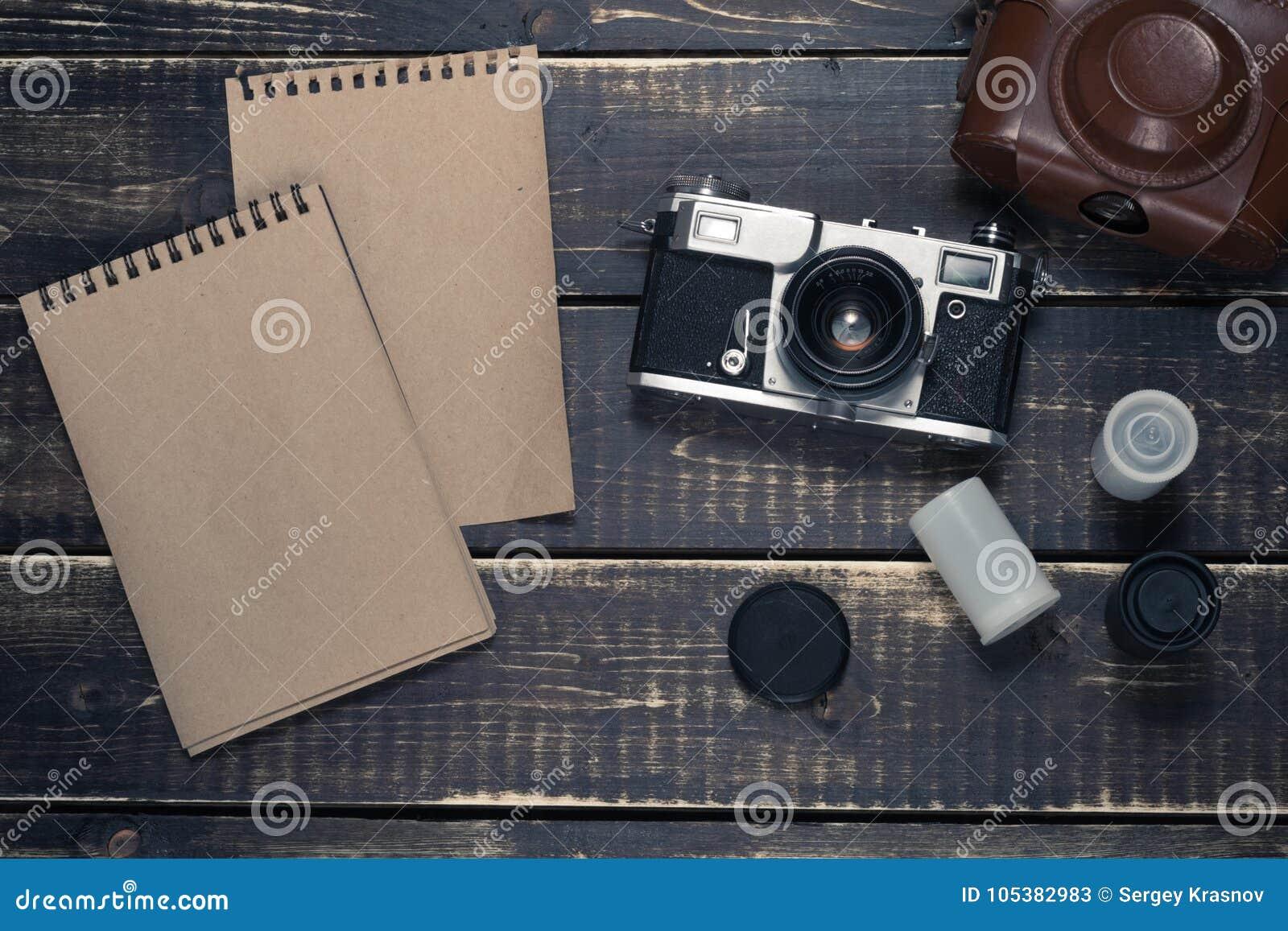 Old rangefinder vintage and retro photo camera with vintage color effect