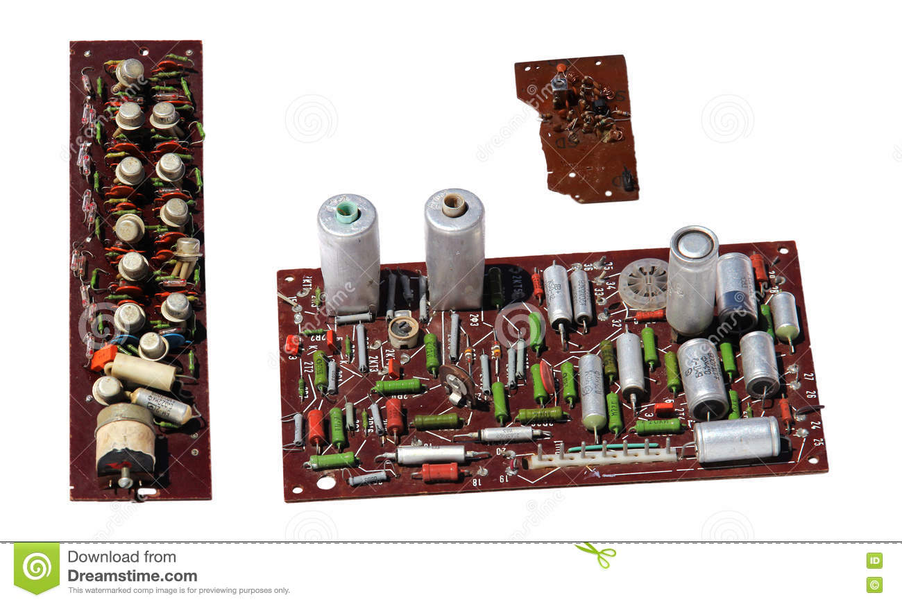 Old rarity radio, tv board with electronic components, printed c