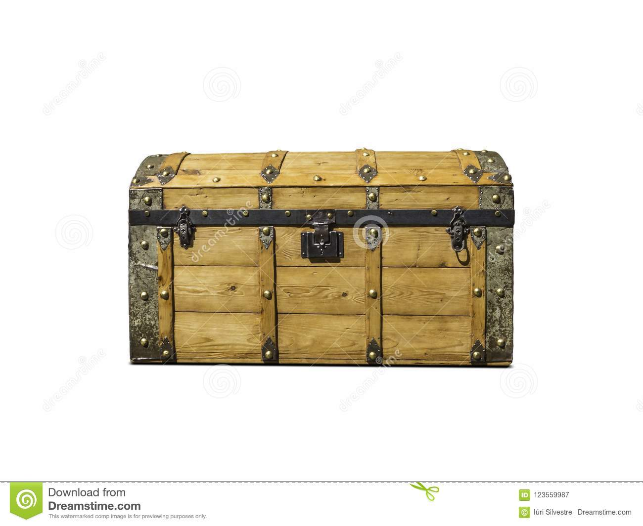 old realistic treasure chest isolated in white stock image image