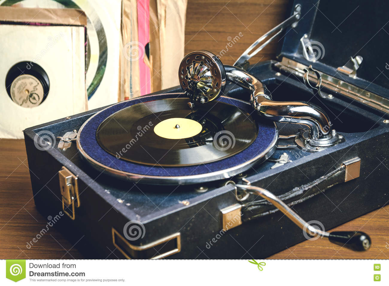 Old Record Player Gramophone Stock Photo - Image of history