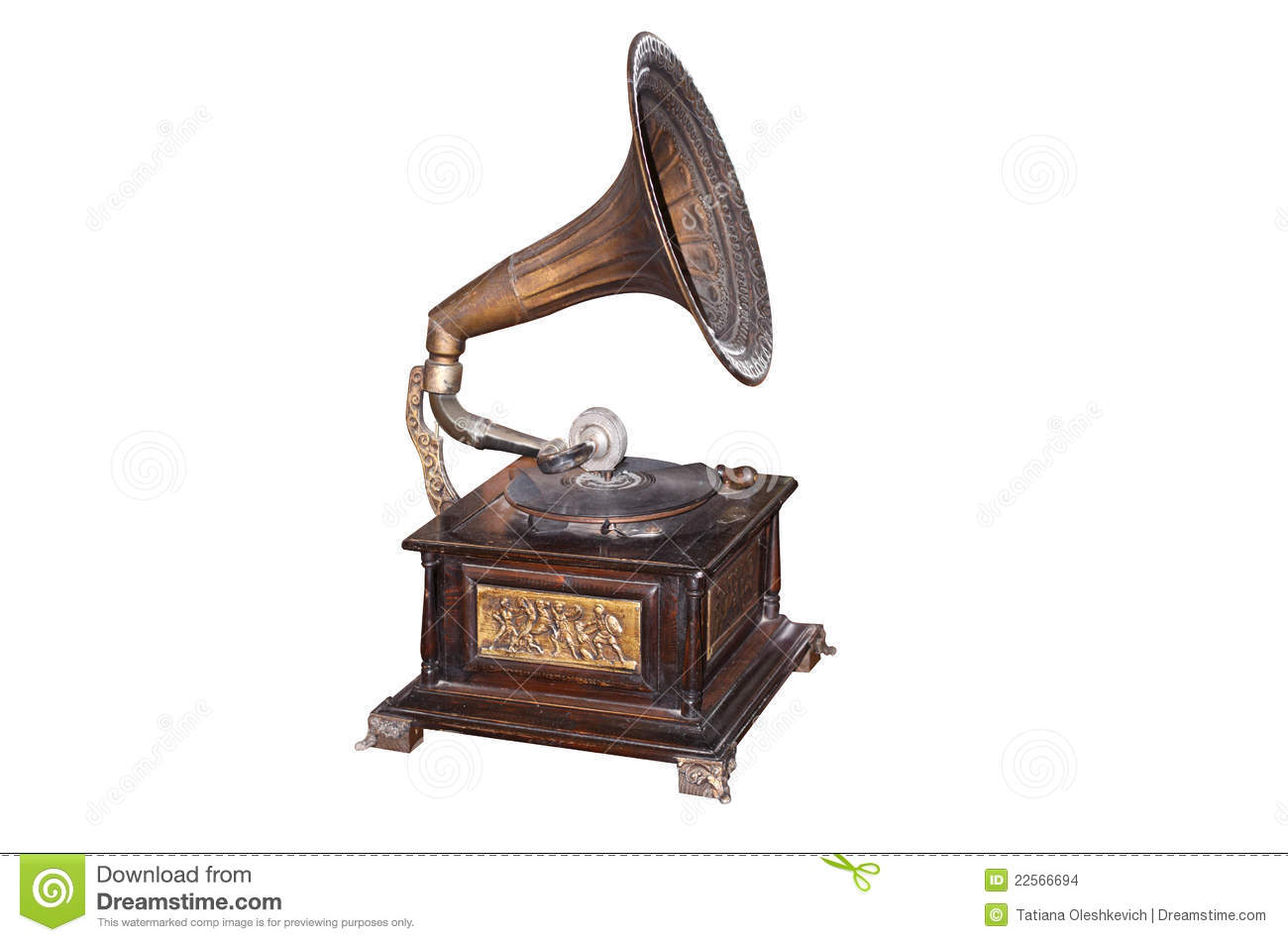 Old Record Player Over White Background Stock Images