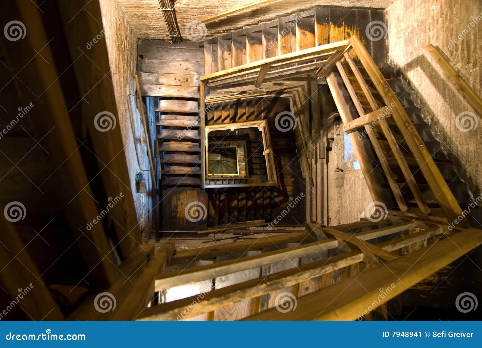Old rectangular spiral stairways