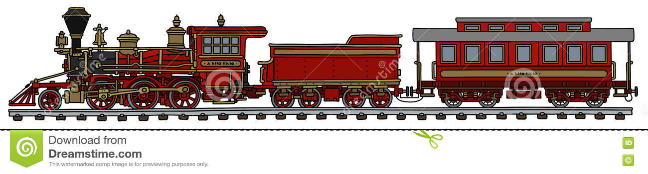 Old red american steam train stock vector image 82600476 for American classic realty