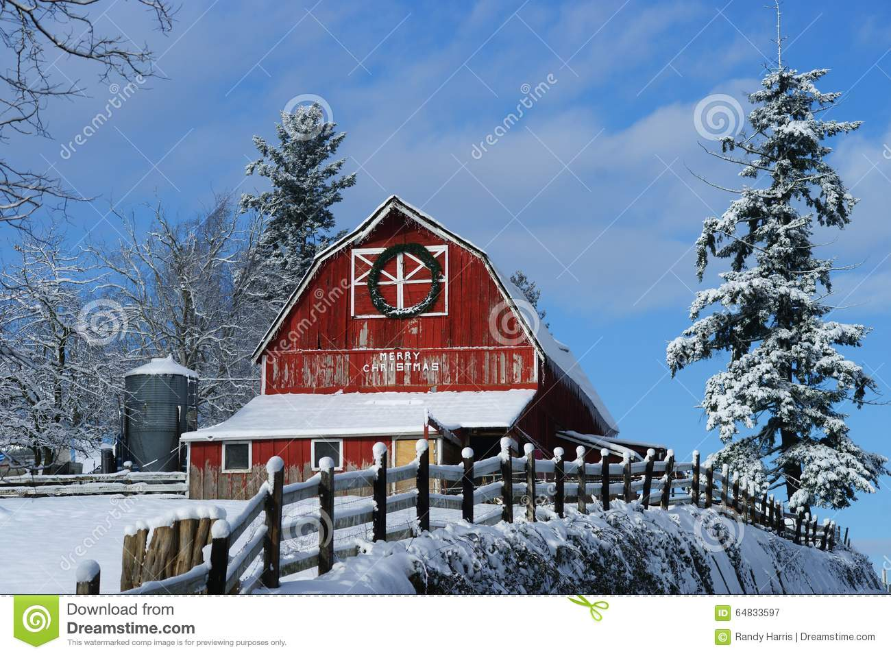 Old Red Barn Winter Landscape Stock Image Image Of