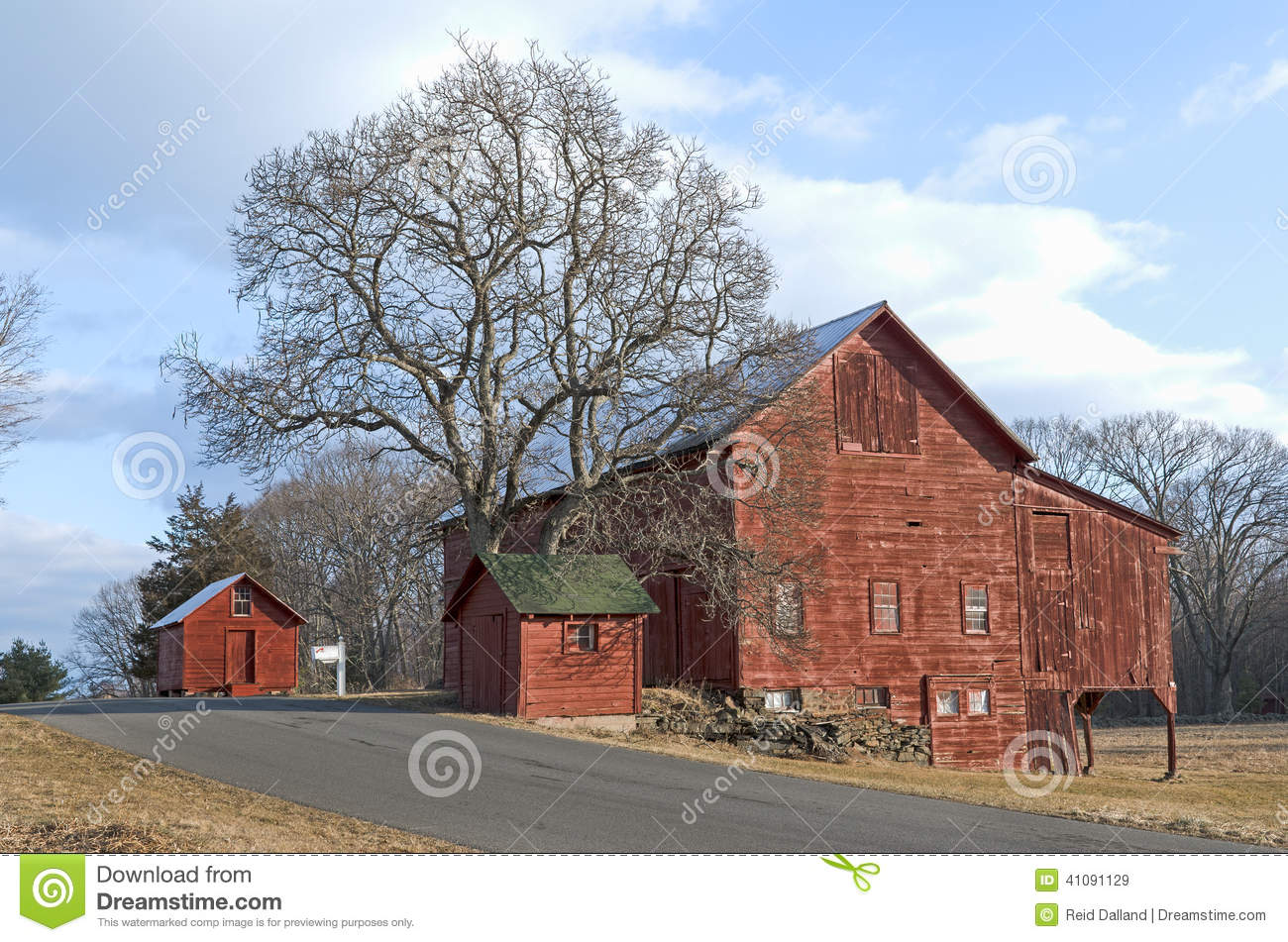 Old Red Barns And Tree On Country Road Stock Image