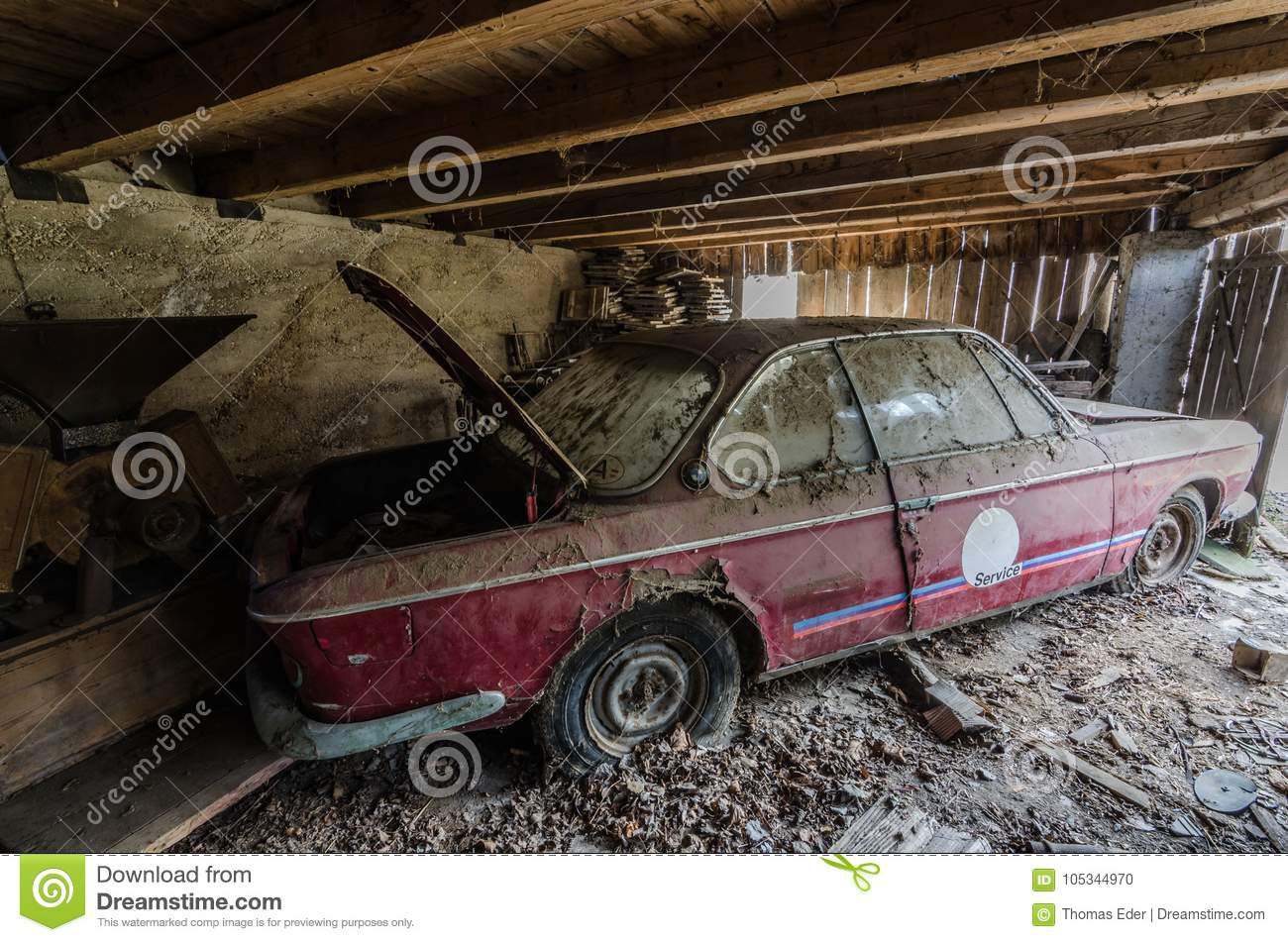 Old Red Bmw On An Farm Editorial Image Image Of Equipment 105344970