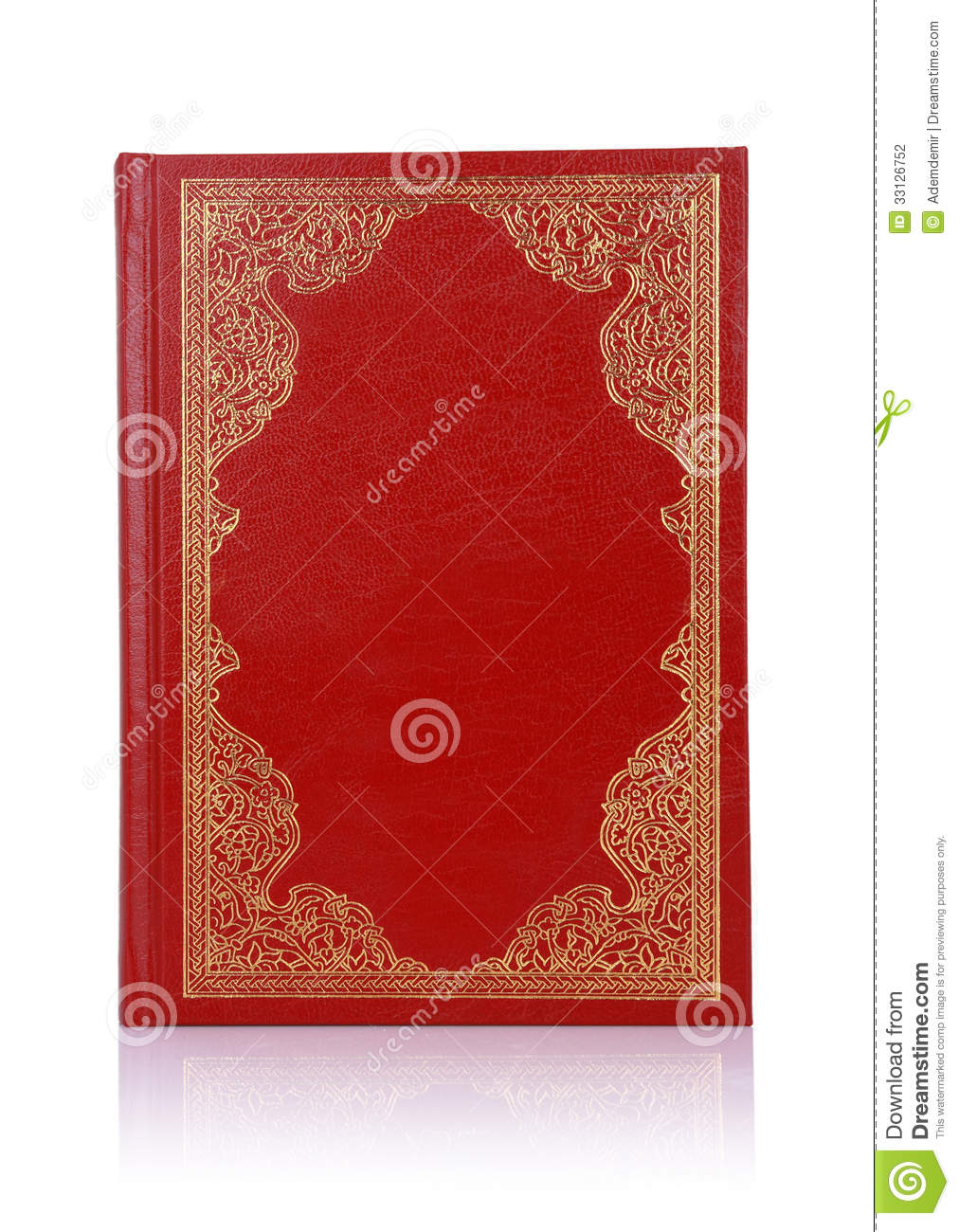 Old Red Book With Gold Color Ornament On Cover Stock