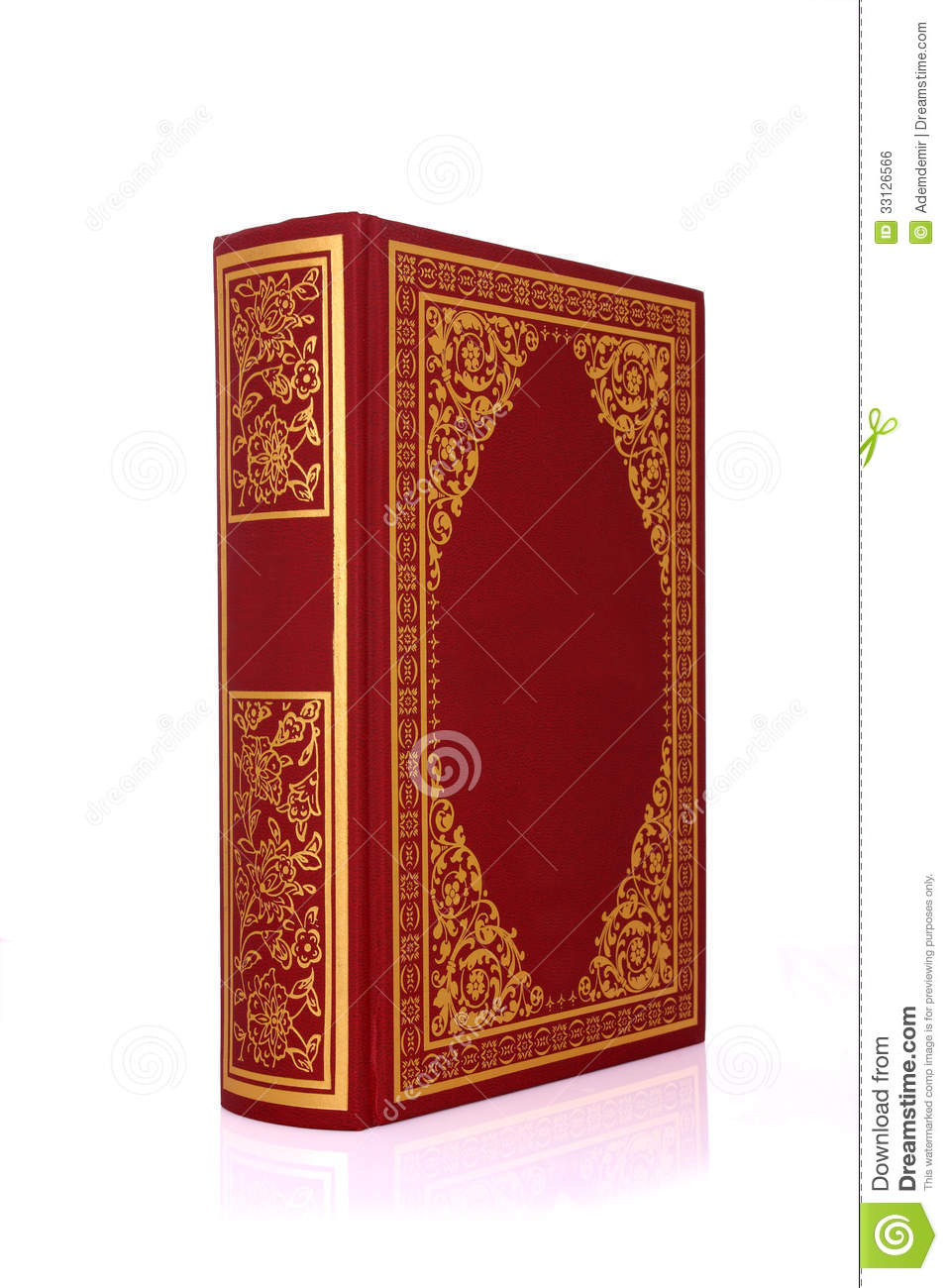 Old Red Book Cover ~ Old red book with gold color ornament on cover isolated