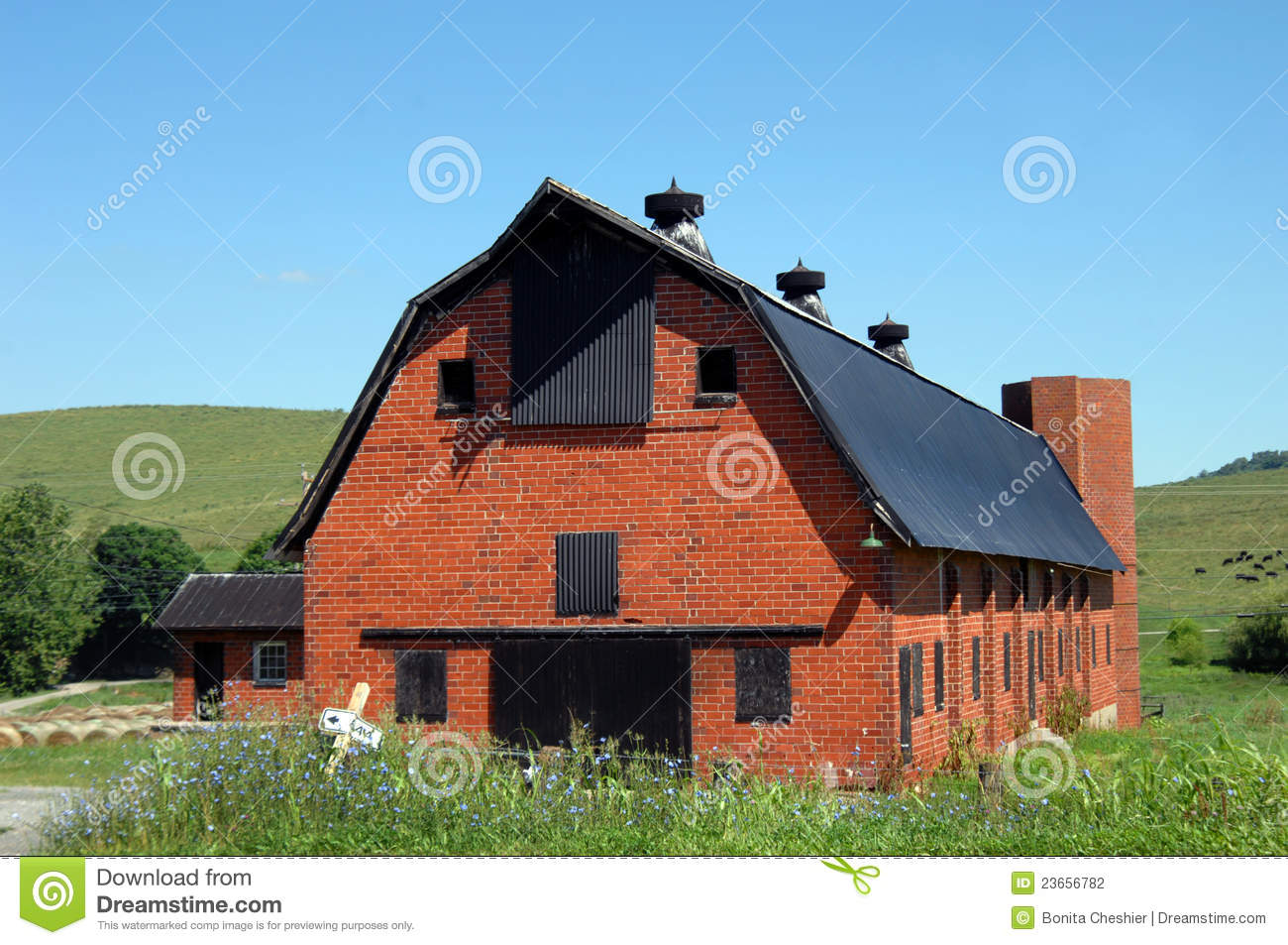 Old Red Brick Barn Stock Photo Image Of Flowers