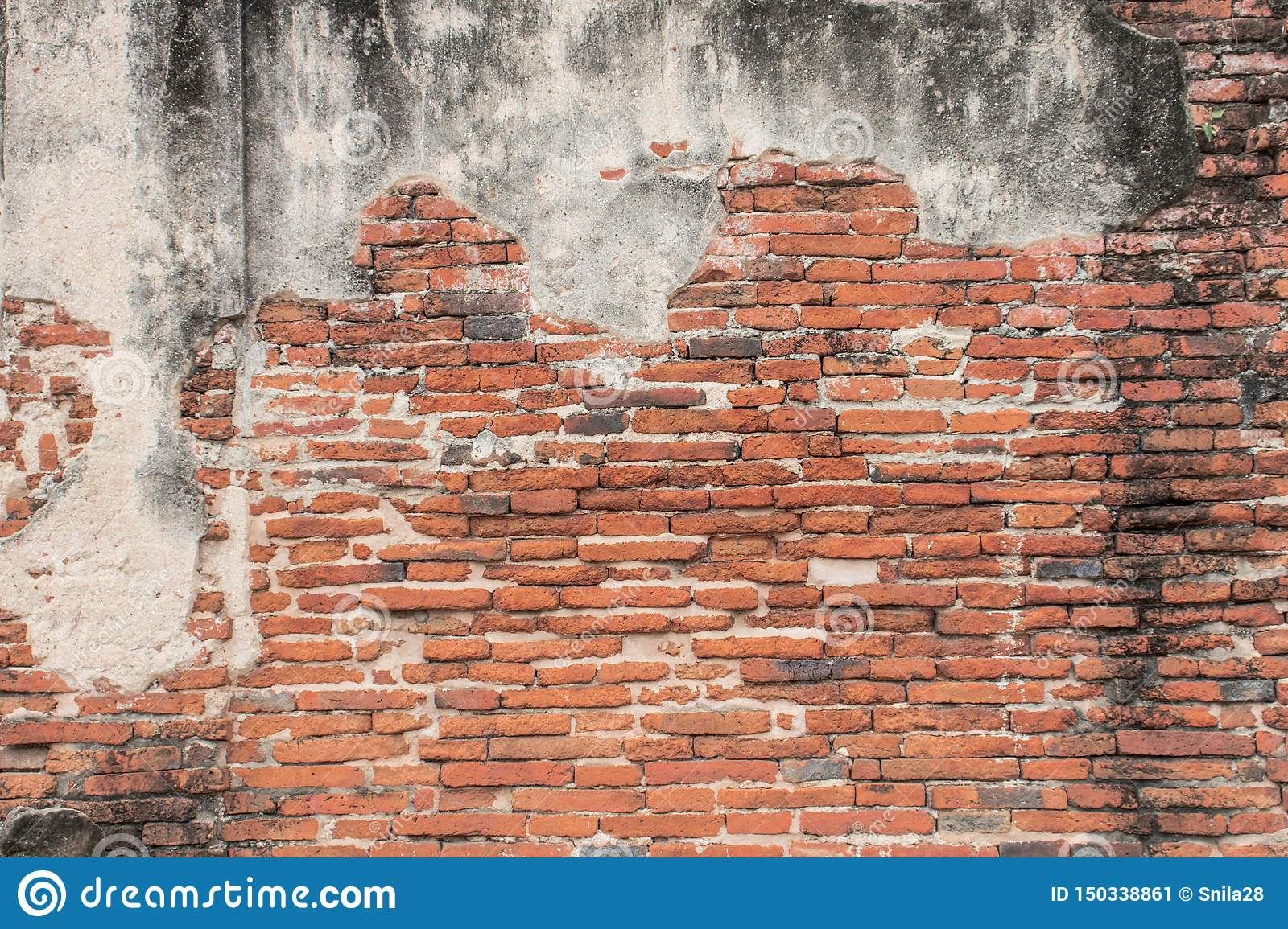 Old red Brick and cement dru Wall Texture background image. Grunge Red Stonewall Background
