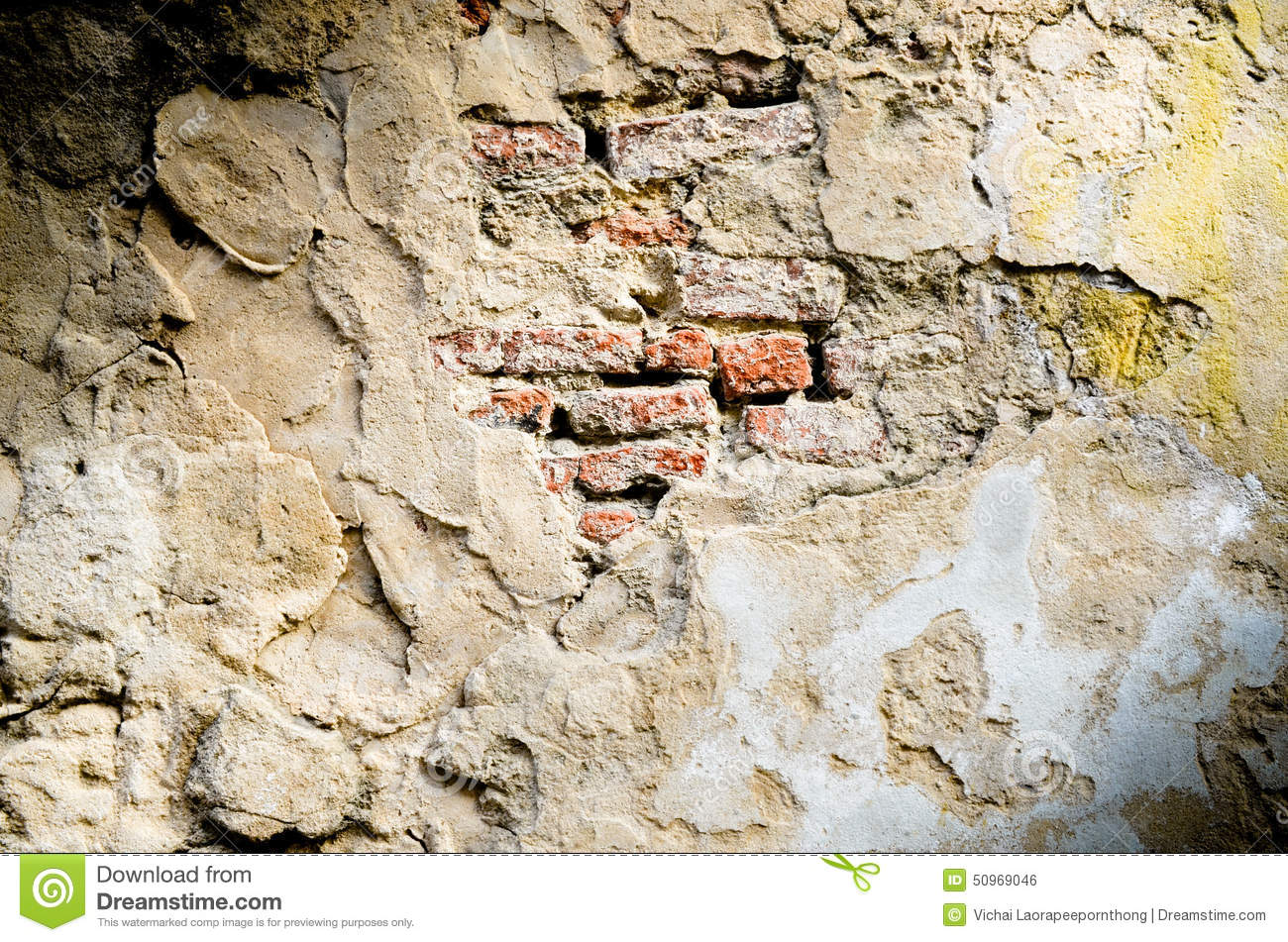 Download Old Red Brick  In Cracked Concrete Wall Stock Photo - Image of material, pattern: 50969046