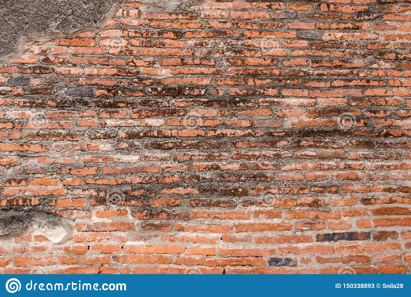 Old red Brick and dry Wall Texture background image. Grunge Red Stonewall Background