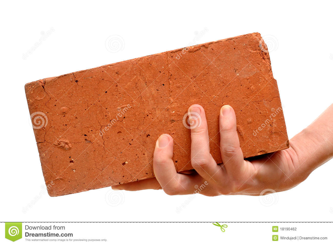 Old red brick in hand