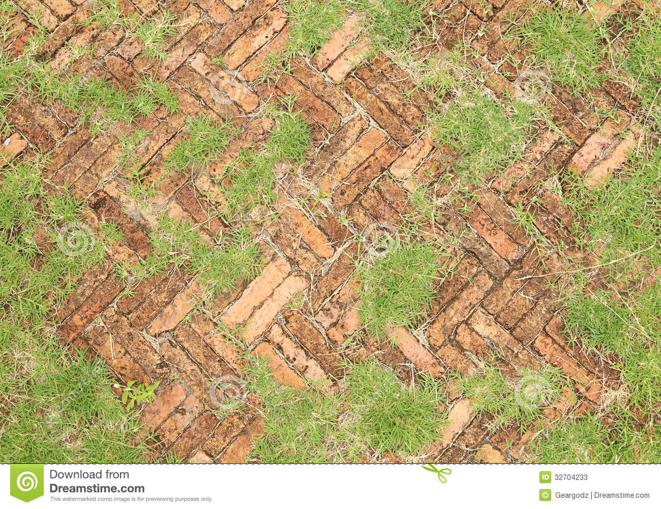 Old Red Brick Paving Stones With Grass Growing Along Stock