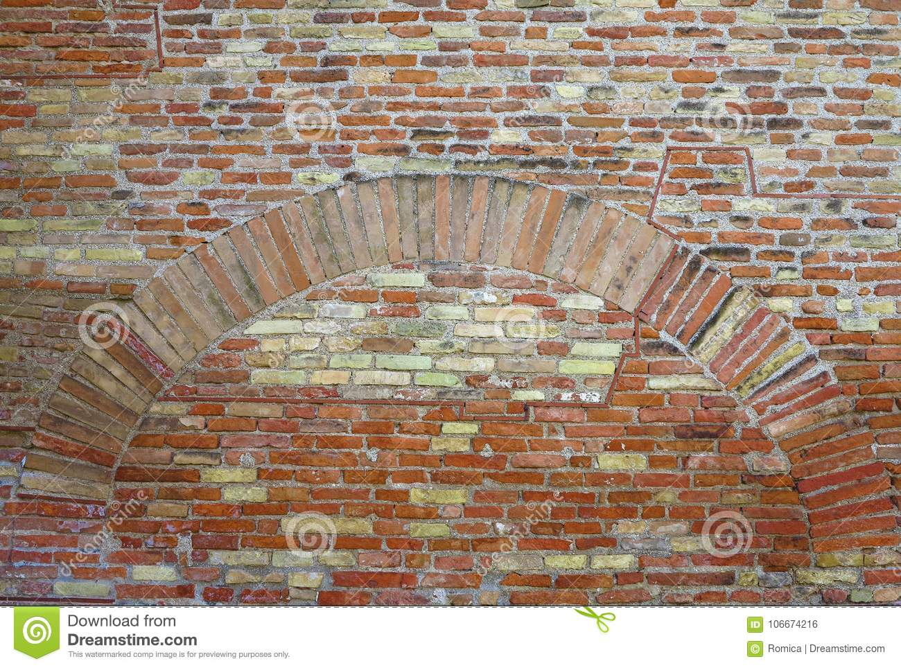 old red brick wall with arch vintage texture background stock photo
