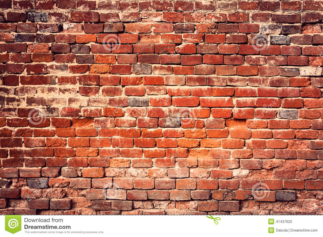 Old Red Brick Wall Background Grunge