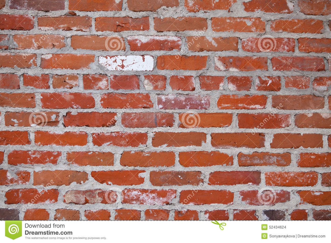 Old Red Brick Wall Background Stock Photo Image 52434624