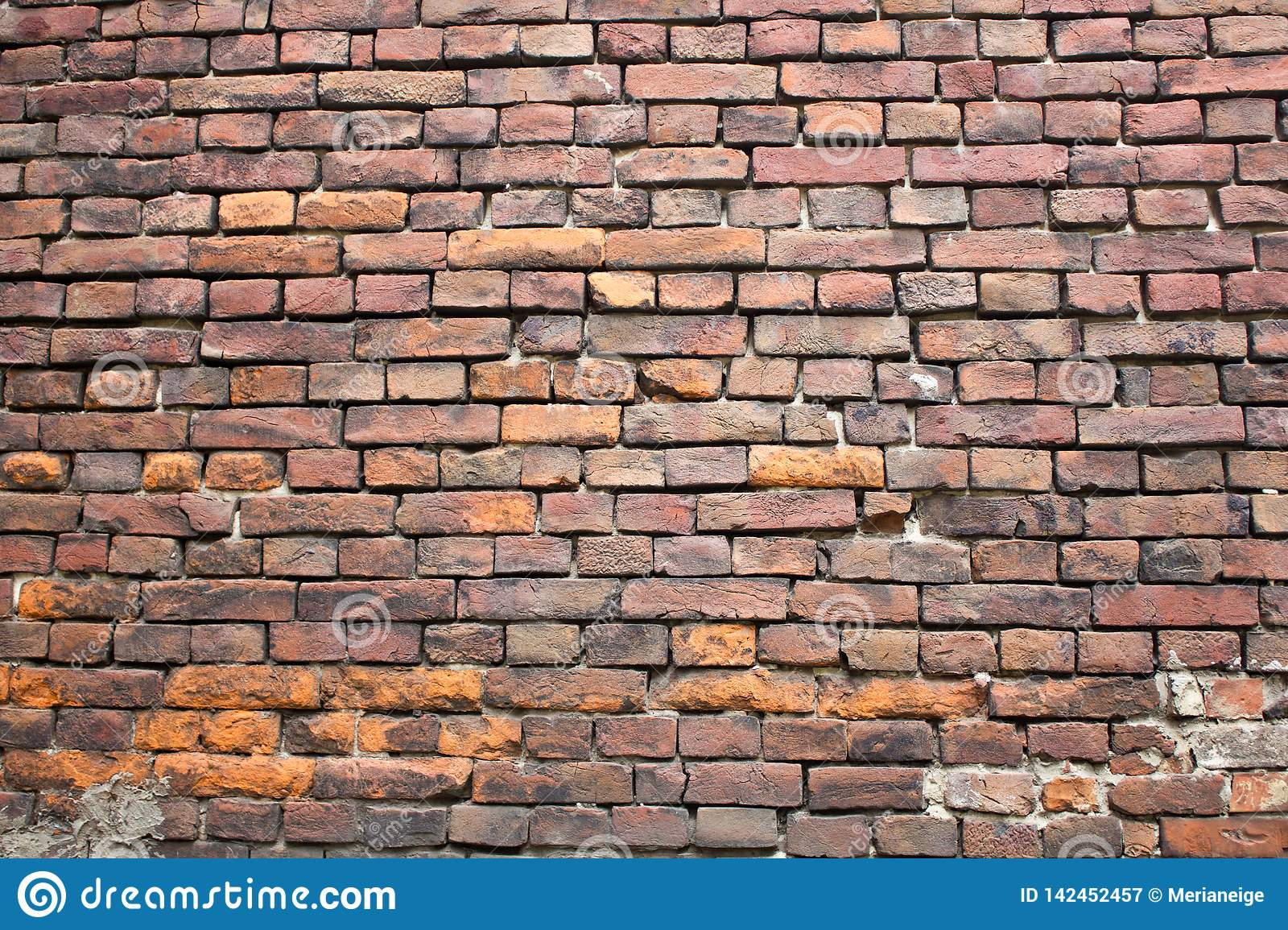 Old red brick wall photo texture