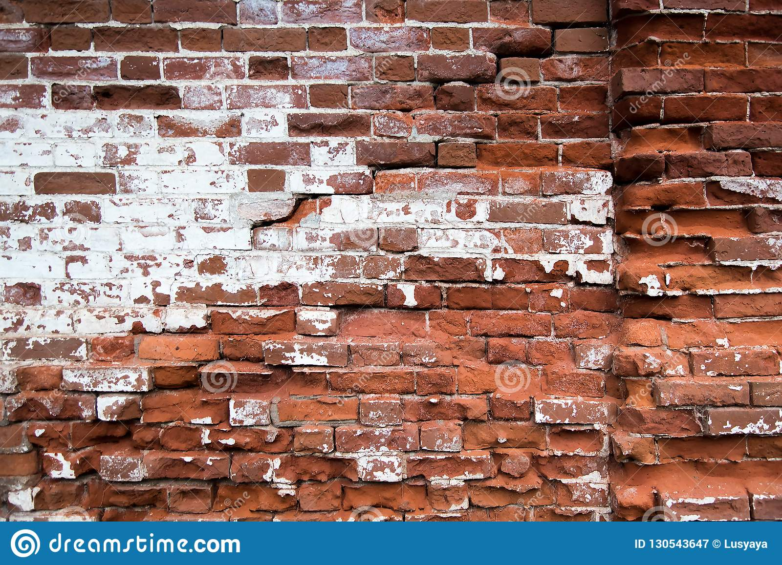 old red brick wall texture background. Old house facade.