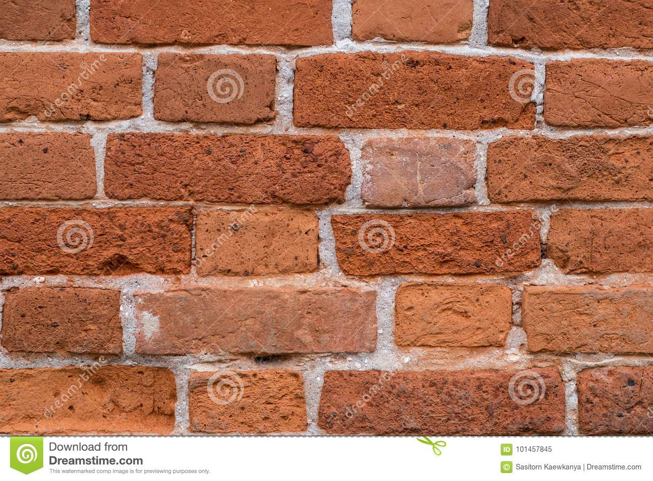 Old red brick wall texture for background.Clay bricks for building construction.