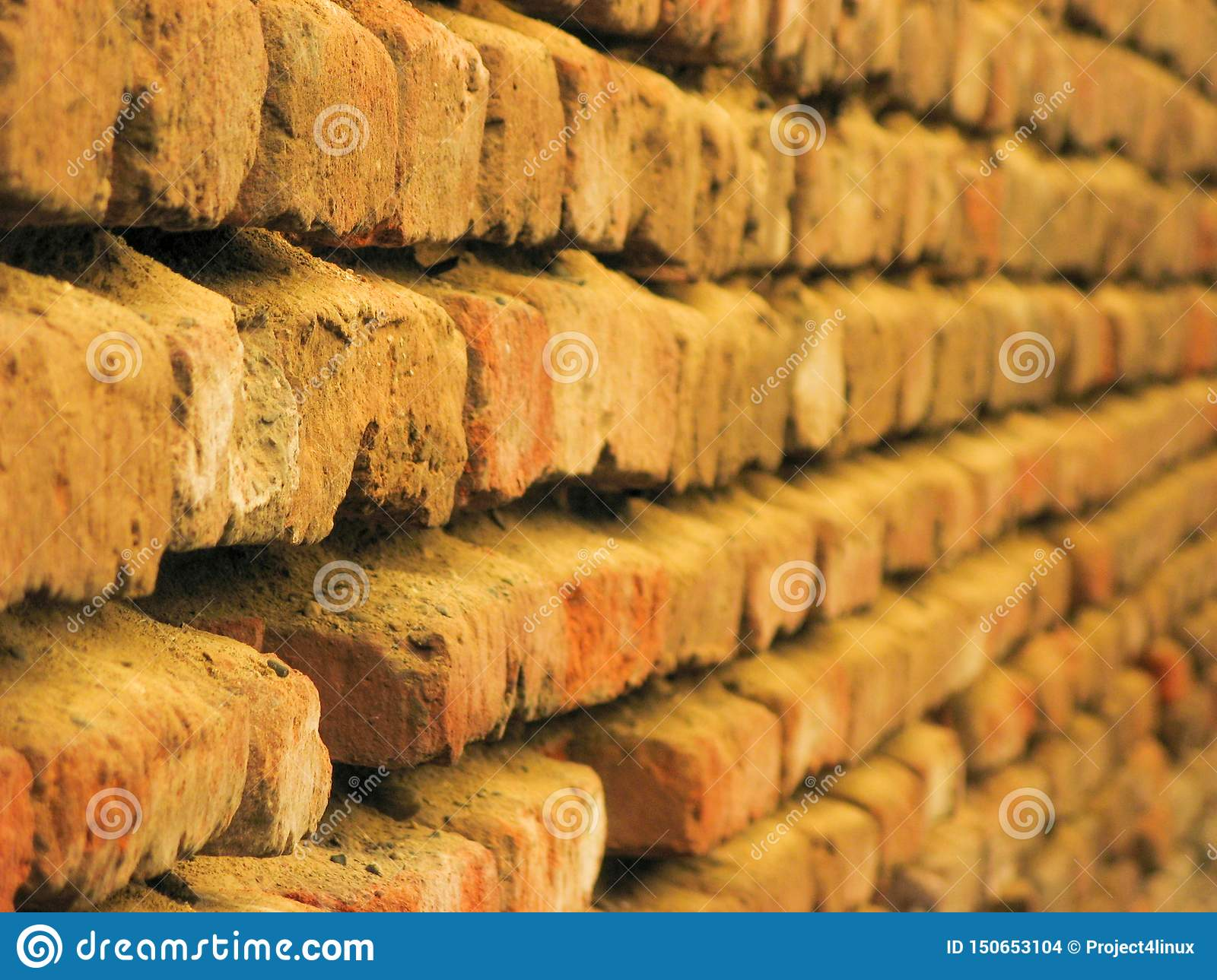 Old red brick wall texture background.Empty Old Wall Texture. Horizontal view