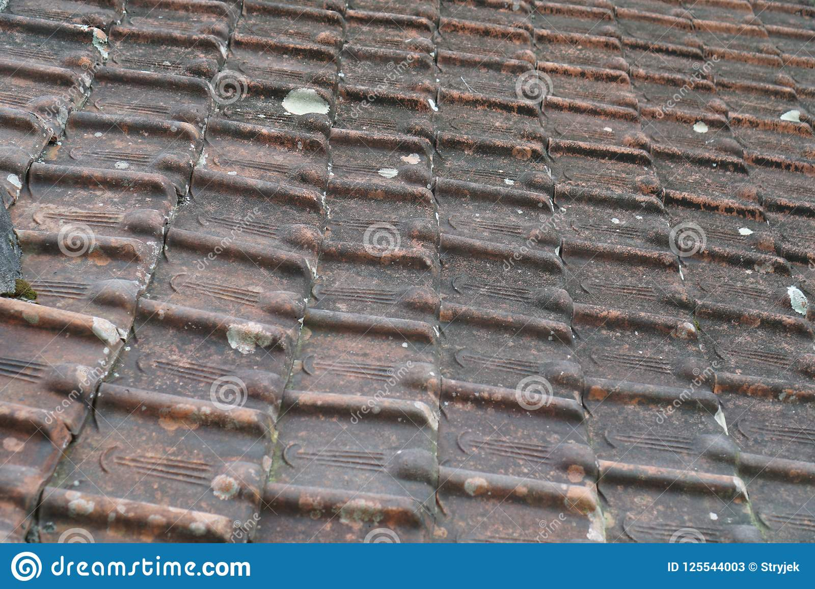 Old red clay tile roof stock image. Image of ancient ...