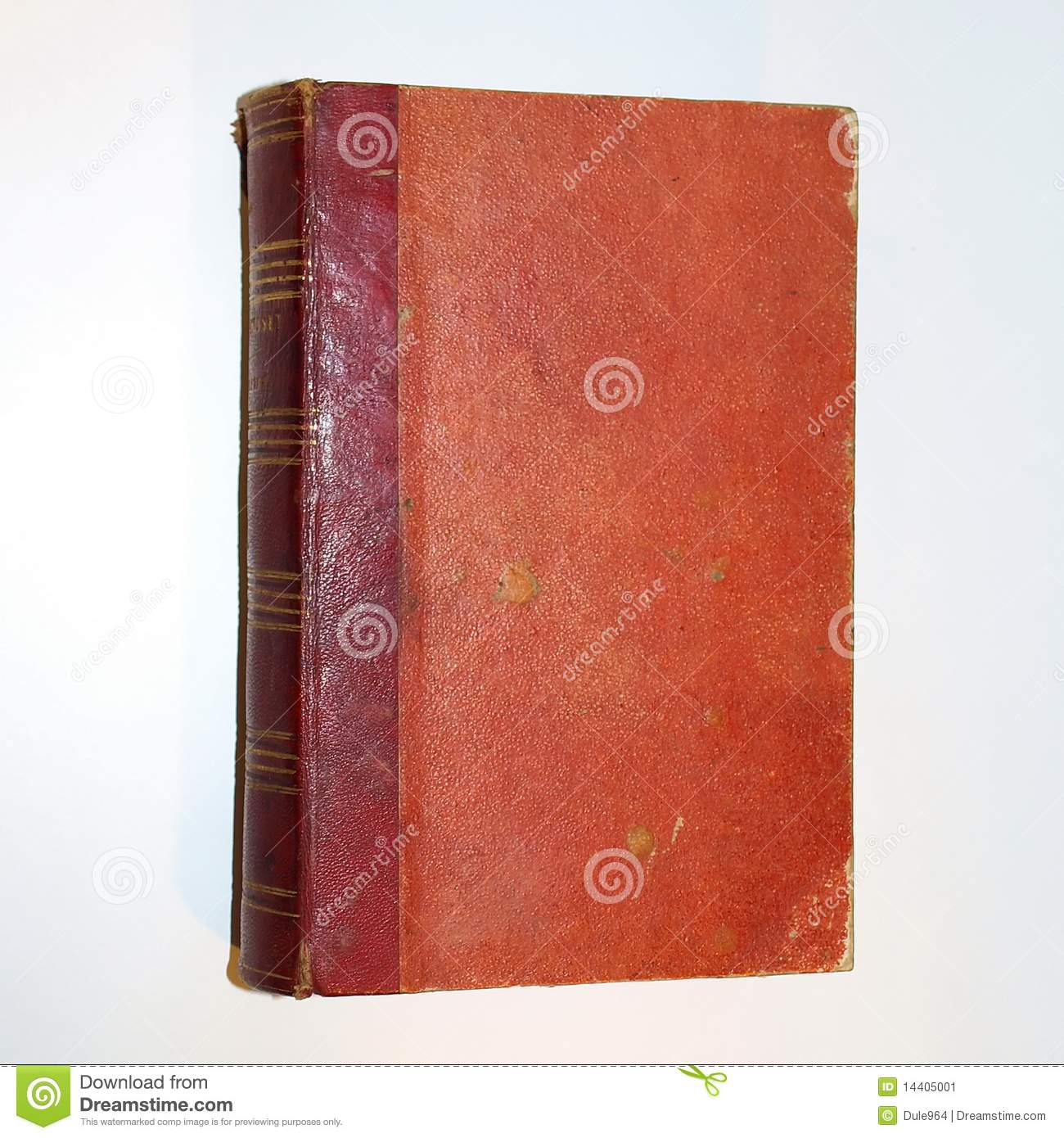 Old Red Book Cover ~ Old red cover book isolated over white year stock
