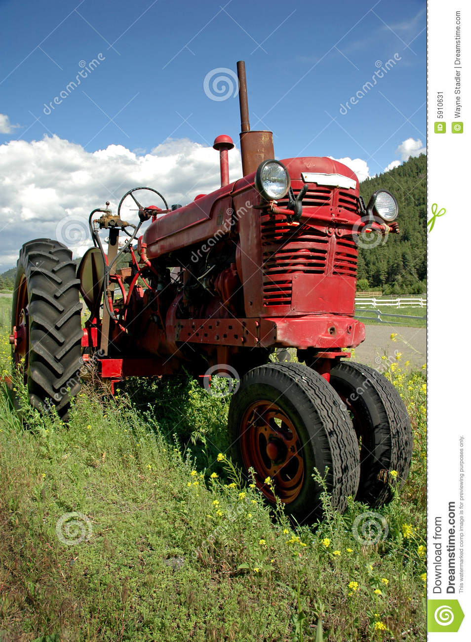 Old Red Farm Tractor Stock Image. Image Of Farms, Crop