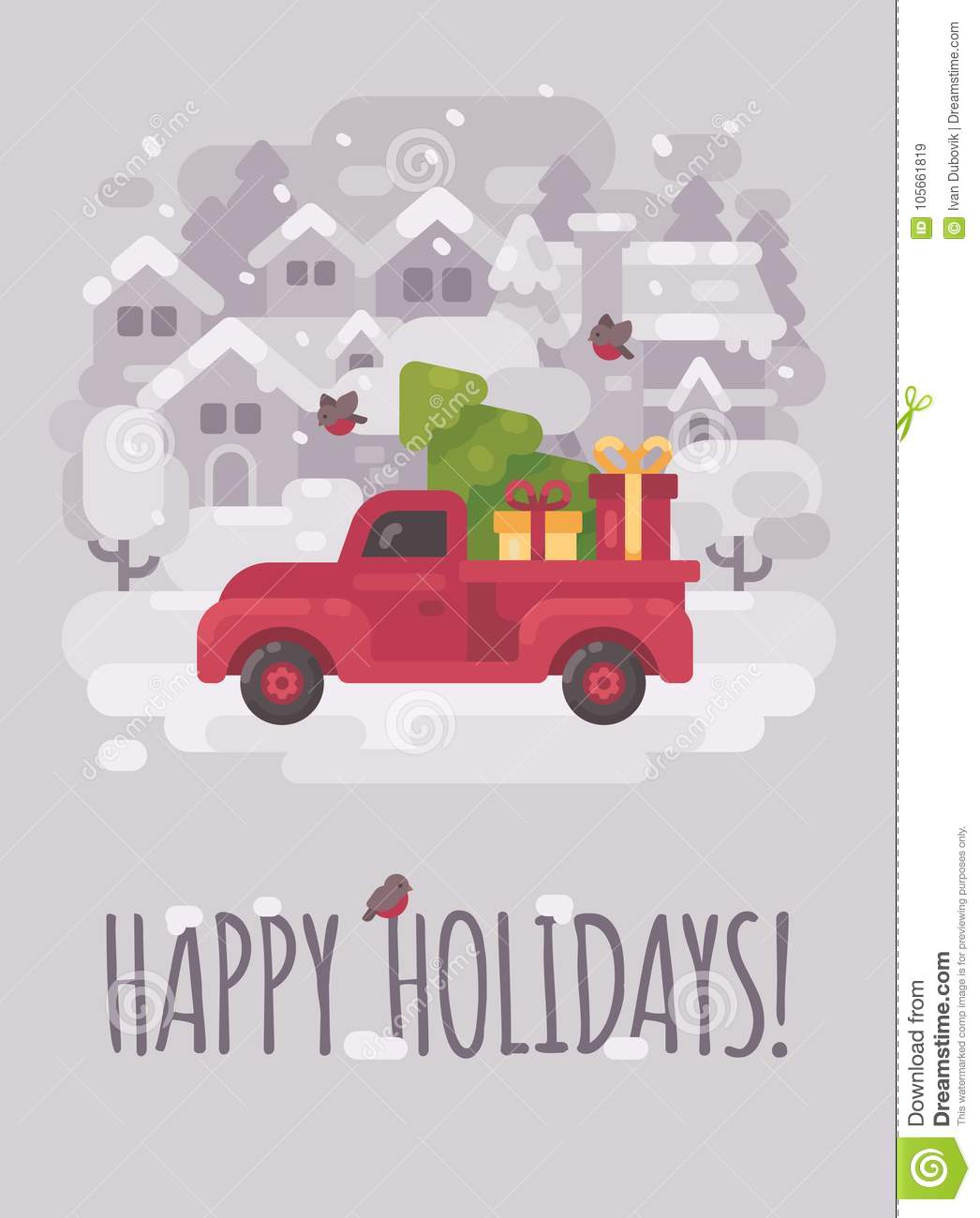 Old Red Farm Truck With A Christmas Tree And Presents Stock Vector ...