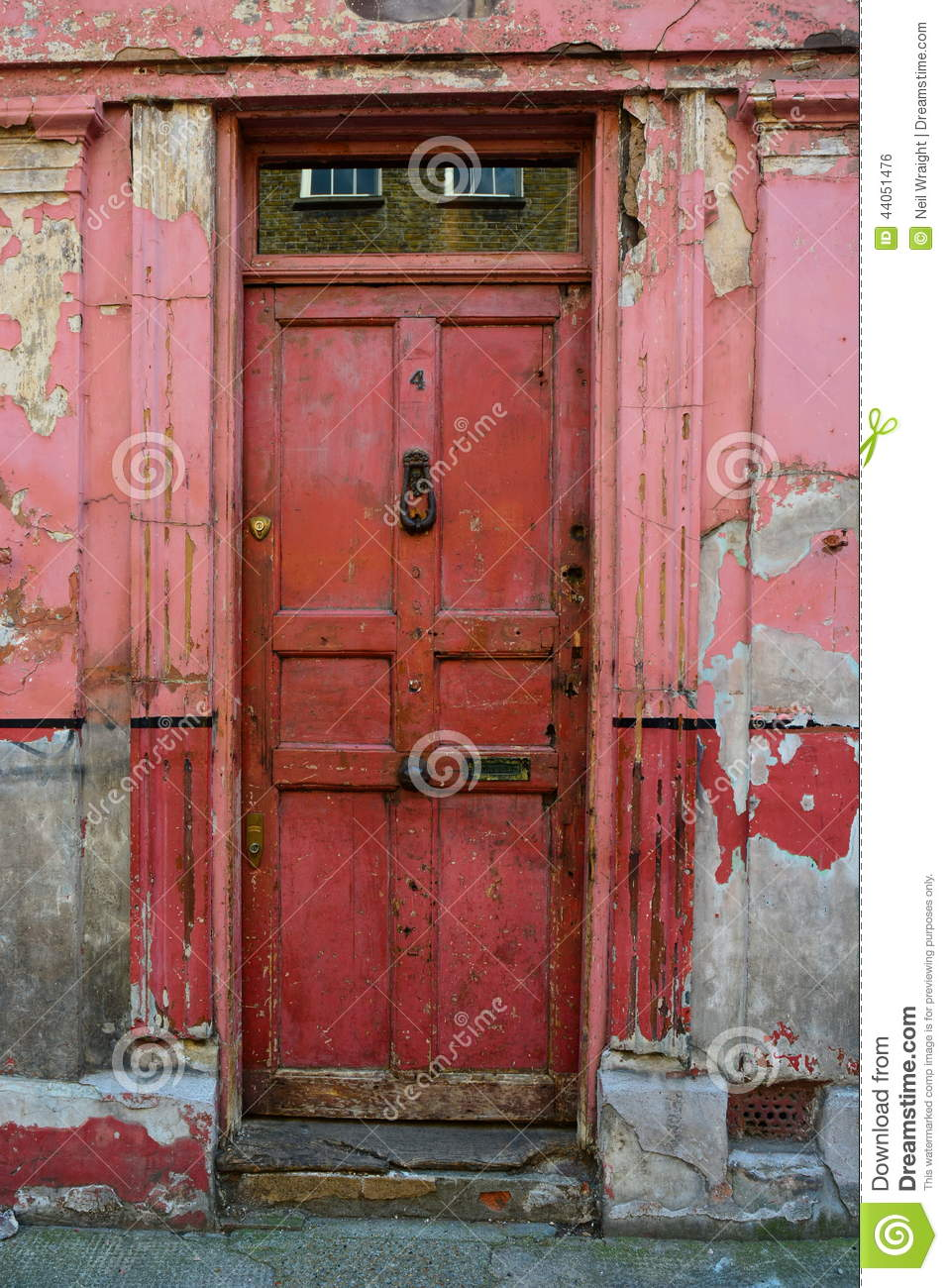 Old Red Front Door With Peeling Paint Stock Photo Image