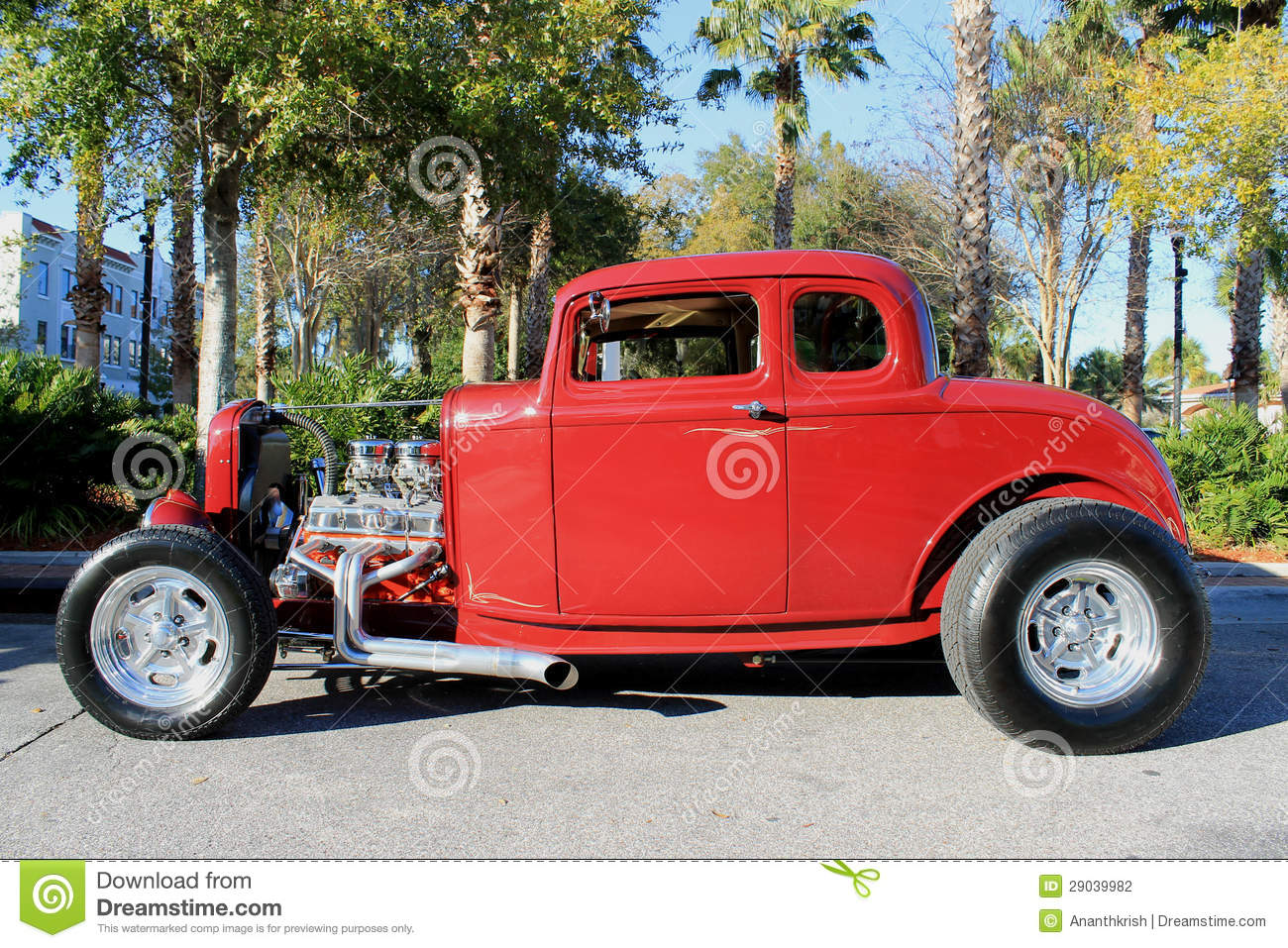 Old red hot-rod Car stock photo. Image of road, road - 29039982