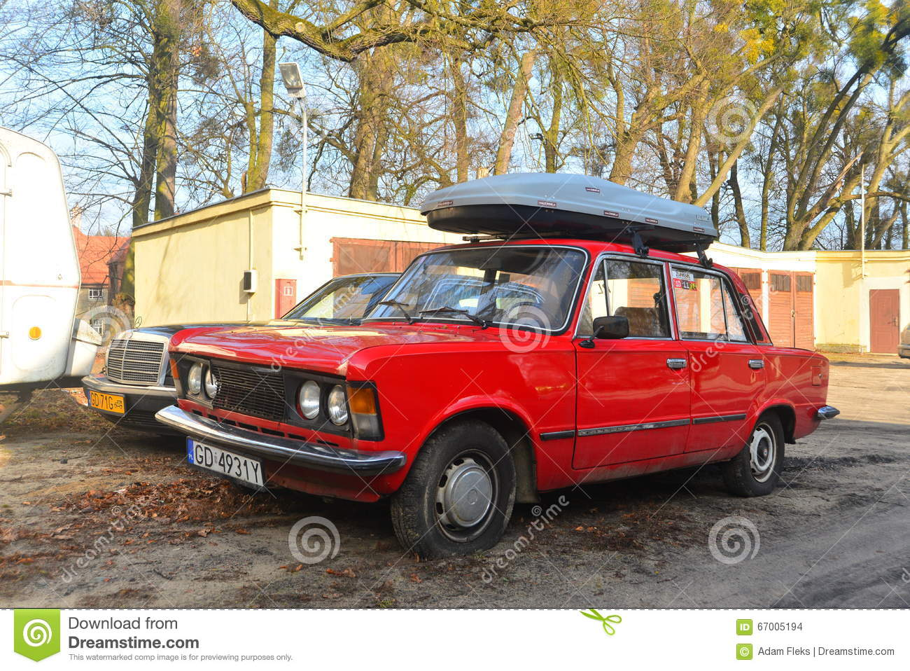 old red polski fiat 125p parked editorial stock image image of italian driven 67005194. Black Bedroom Furniture Sets. Home Design Ideas