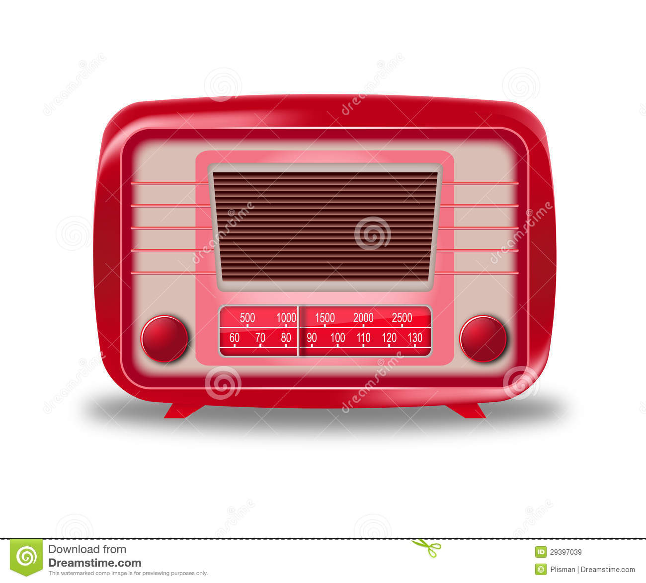 Download Old Red Radio On White Background Stock Vector - Illustration of listening, music: 29397039