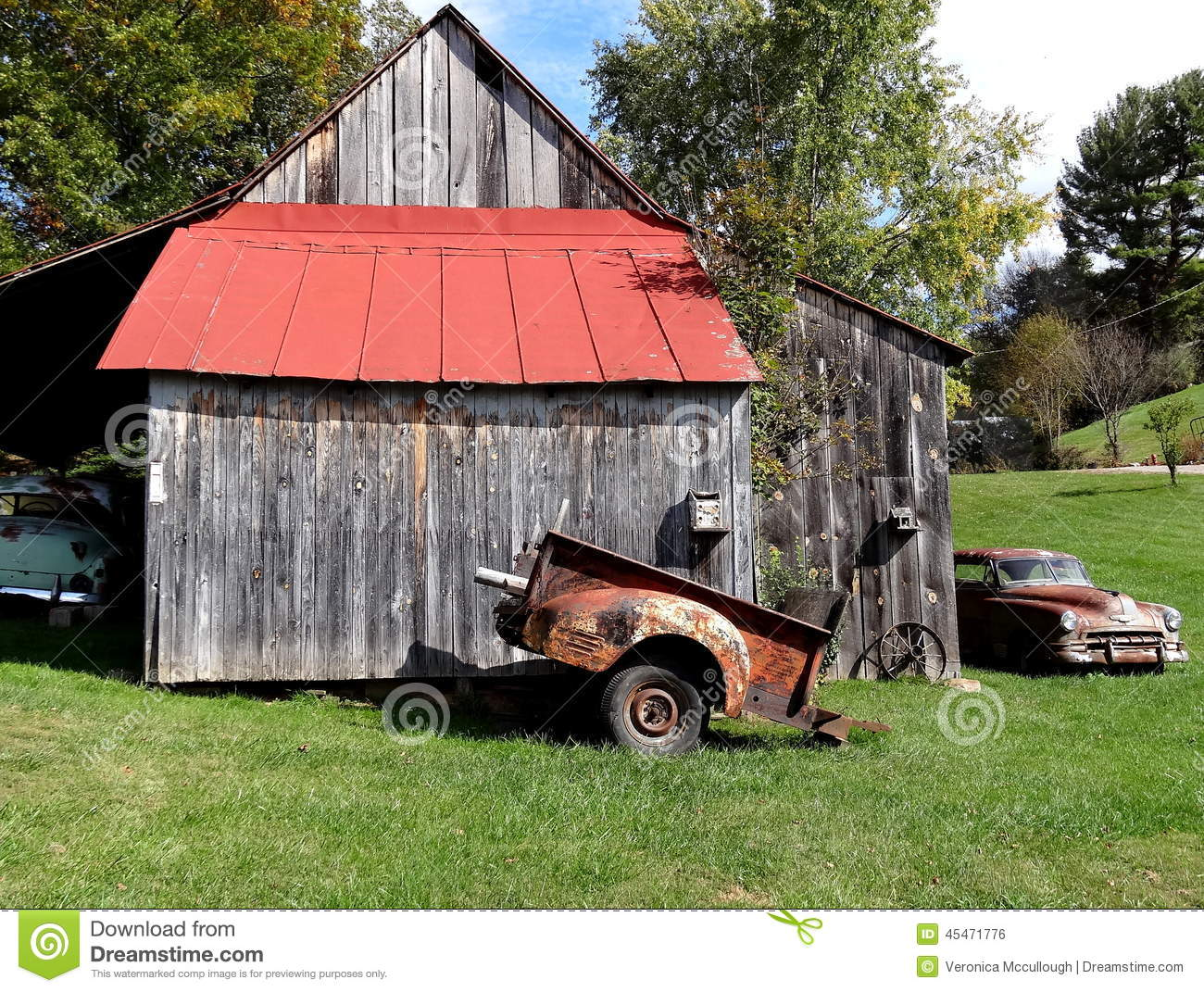 Old Red Roof Barn With Old Car Stock Photo Image 45471776