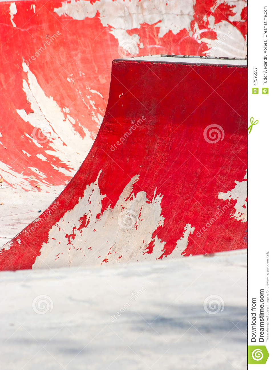 Old Red Skating Ramp With Half Pipe Rail  Stock Image